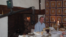 Quentin Wilson with polecam in Shakespeare's house for Shakesperience shoot