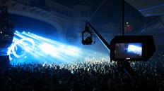 Mark Sallaway operating C300 polecam at Brixton Academy for Sub Focus concert