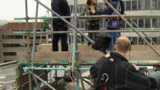 BBC Blue Peter abseiling with polecam
