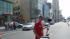 Mark Sallaway shooting polecam in Hollywood Boulevard