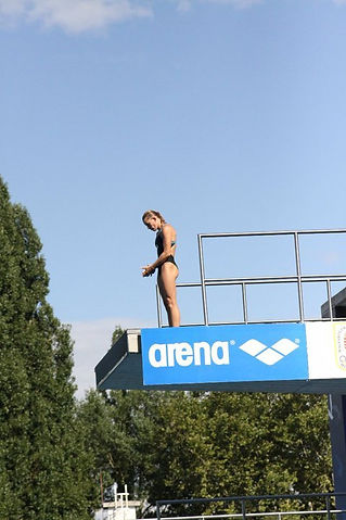 Competing 10 meter at European Championships.