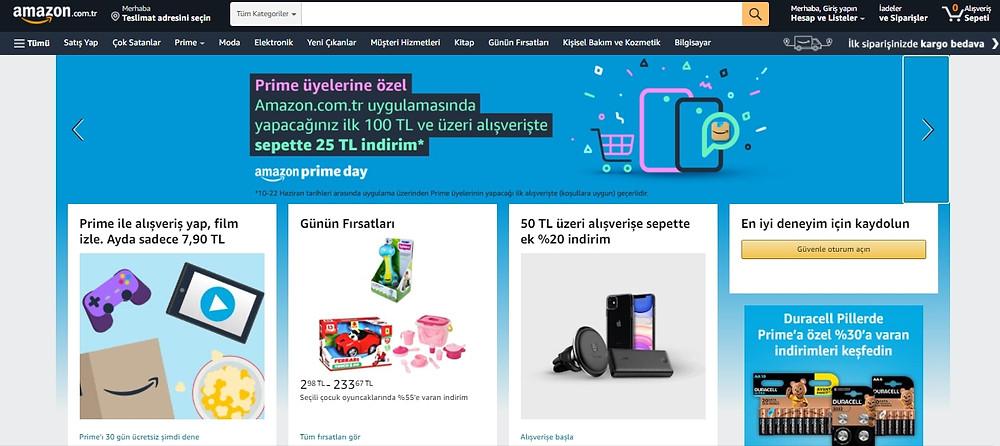Amazon Türkiye alışveriş sitesi