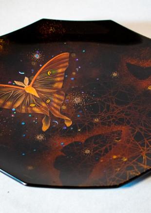 蒔絵ガラス皿 夏の夜