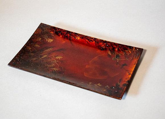 Makie Glass Plate - Autumn Night 蒔絵ガラス皿 秋の夜