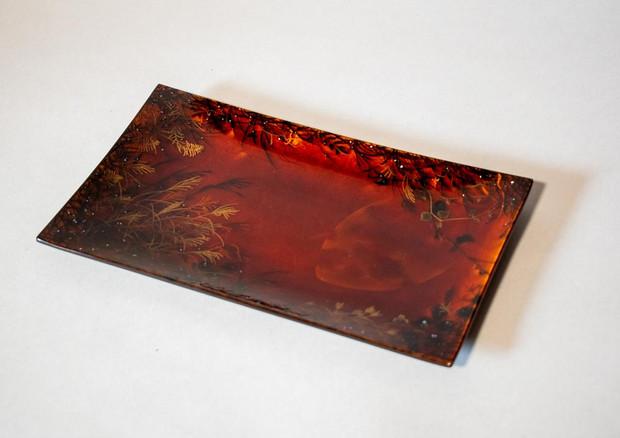 蒔絵ガラス皿 秋の夜