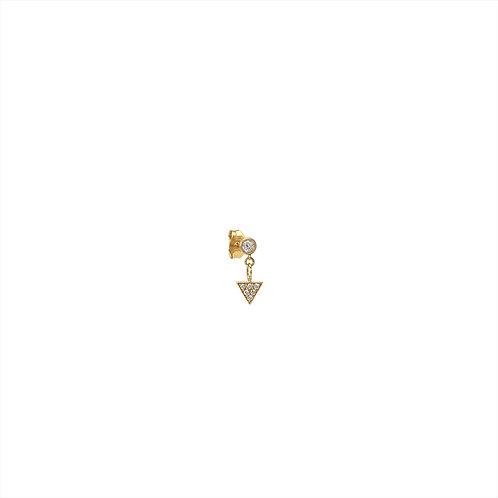 Boucle d'oreille diamant et triangle pavé diamants