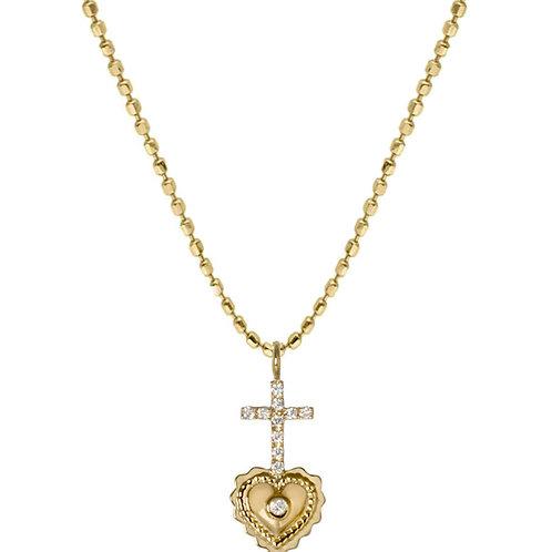 Collier ''Ex Voto croix diamants''