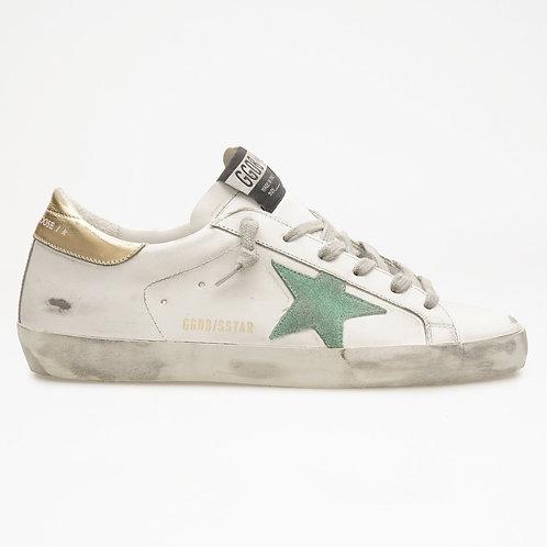 Superstar Gold Heel Green Star / Golden Goose