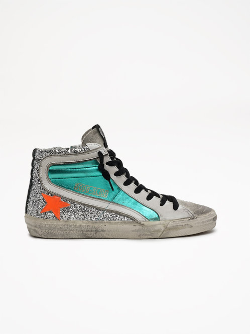 Slide Aquamarine Orange Star / Golden Goose