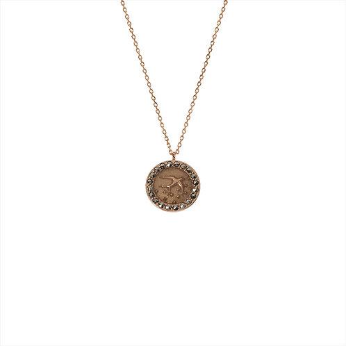 Collier – Icône oiseau – Médaille ronde