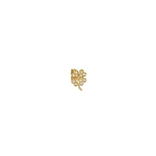 Boucle d'oreille Trèfle pavé diamants