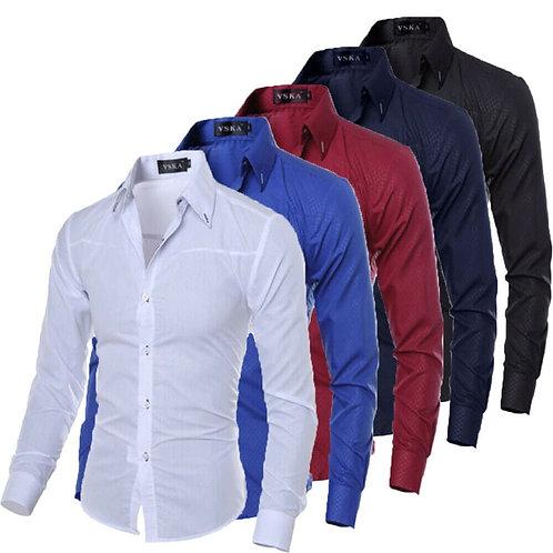 Men Shirts New Arrivals Slim Fit Male Shirt Solid Shirt