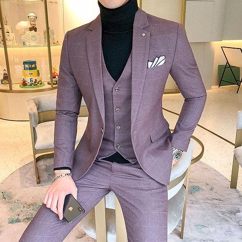 Men's Plaid Suit Sets 4 Colors Choose High-End Jacket With Vest and Pants