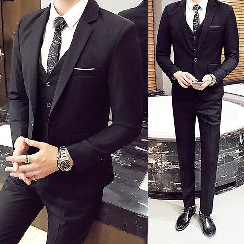 3Pcs/Set Luxury Mens Suits Set Grey Formal Blazer Pants Vest