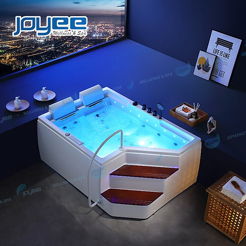 JOYEE 2021 Freestanding Whirlpool Hot Tub Indoors Step in Bathtub With LED Jets