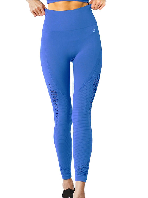 Mesh Seamless Legging With Ribbing Detail - Blue