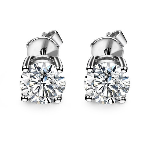 Fine Jewelry 18K White Gold Earrings With Round 6.5mm Brilliant Cut Moissanites