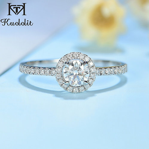 Kuololit Natural Diamonds 10K White Gold Ring for Women Diamonds Promise Ring