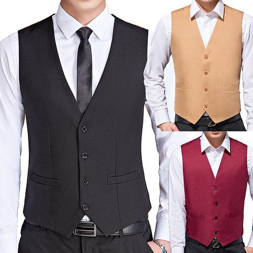 Mens Black Colour Wedding Suit Vests for Men Slim Fit Dress Male Formal Tuxedo