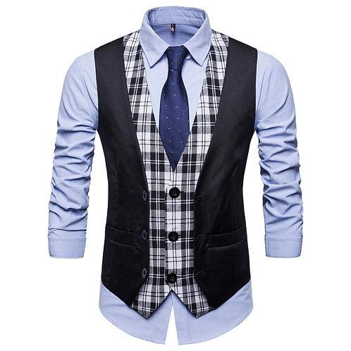 Mens Plaid Patchwork Blazer Vests Single Breasted V-Neck Fashion