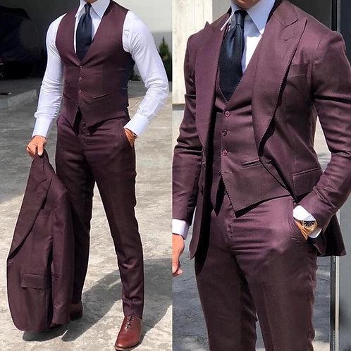 Burgundy Slim Fit Suits for Men 3 Pieces Suit Formal Business Jacket+Vest+Pants