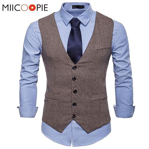 Vest Men Formal Dress Vest Sleeveless Jacket Wedding Waistcoat Men