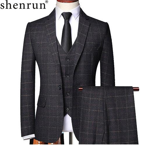 Shenrun Men 3 Pieces Suit Spring Autumn Plaid Slim Fit Business Formal Suits