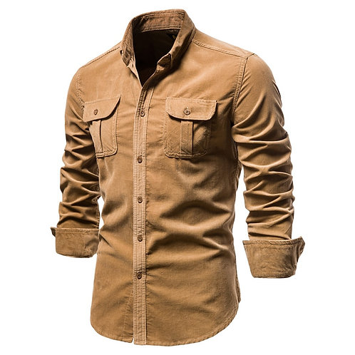 2020 New Single Breasted 100% Cotton Men's Shirt Business Solid Color