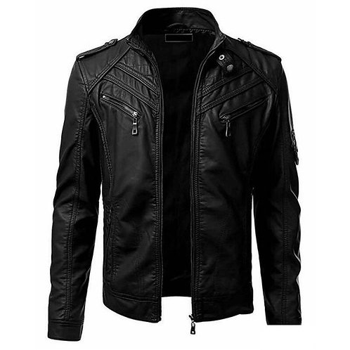 Men PU Leather Jacket 2020 Winter Motobike Coat Slim Fit Stand Collar Zipper