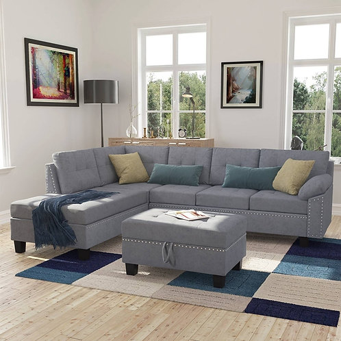 Sectional Grey Sofa Set With Chaise Lounge and Storage Ottoman Nail Head Detail