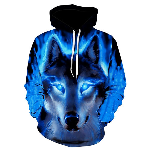 Fashion Men Wolf Animal 3D Printed Hooded Hoodies Shinning Wolf Design