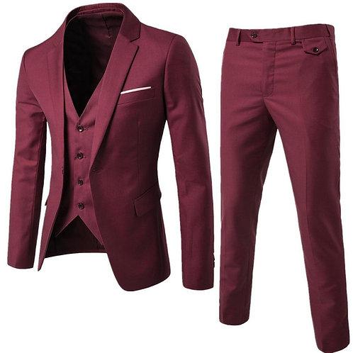 Burgundy Men's Suit Groom Wear Tuxedos 3 Piece Suit for Men (Jacket+Pant +Vest)