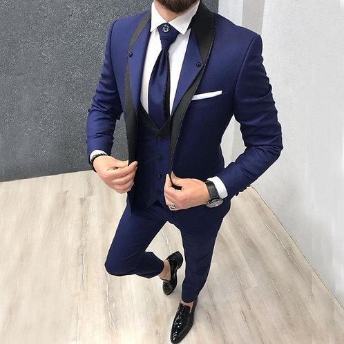 Men Suits Custom Navy Blue Slim Fit Suit for Men Tuxedos 3 Pieces