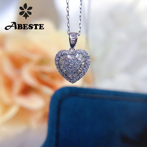 18K Solid White Gold Pendant Necklace Real Diamond Necklace Halo Heart Design