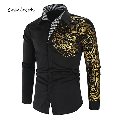 Luxury Gold Black Shirt Men New Slim Fit Long Sleeve