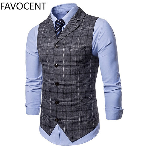 Business Suit Vests Lattice Waistcoat Mens Sleeveless Suit Vest Top Grey Blue