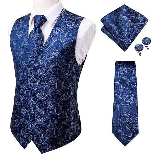 20 Color Silk Men's Vests and Tie Business Formal Dresses Slim Vest 4PC