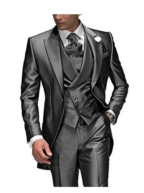 Charcoal Grey Men's Suit 3 Pieces 1 Button Suit for Men (Jacket+Pants+Vest)
