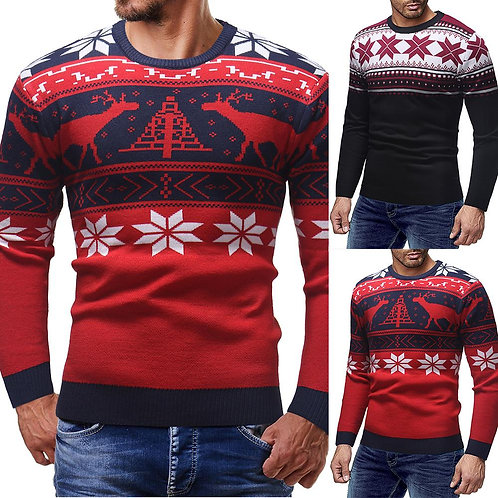 Christmas Cotton Printing  2020 Men O-Neck Knitted Sweaters