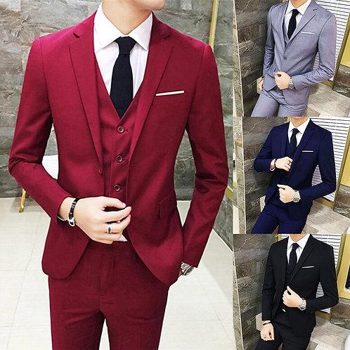 Business Men Formal Suit Vest Blazer Pants Set