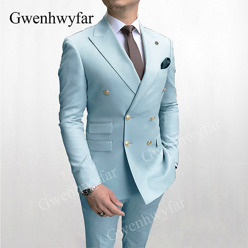 Gwenhwyfar Sky Blue Men Suits Double Breasted 2020 Latest Design 2 Pieces