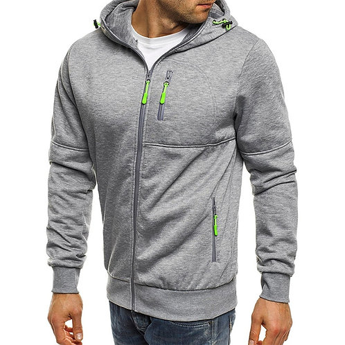 Jacket Men Autumn Casual Sweatshirt Fashion Jacket Men Solid Color Zipper Hooded