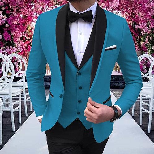 3 Pieces Classic Design Shawl Lapel Tuxedos Suit Blazer & Pants & Vest