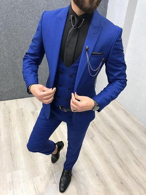 2020 Three Piece Royal Blue Men Suits Slim Fit Suits (Jacket + Pants + Vest+Tie)