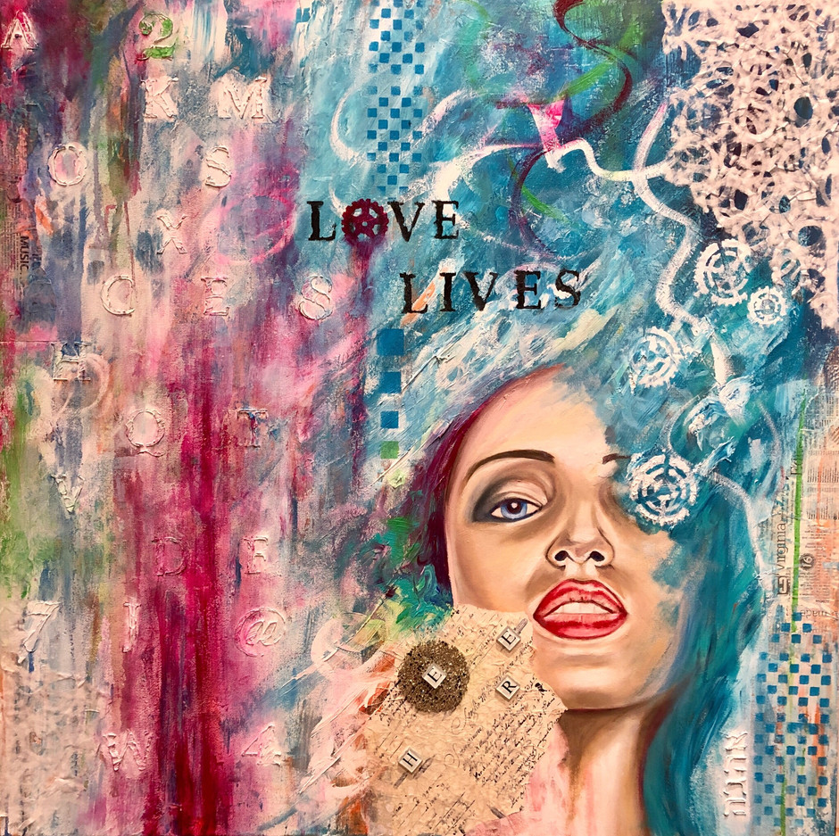 """Love lives here 36""""x36""""1.5""""D"""