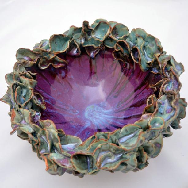 Turquoise&Purple Flower Big Bowl