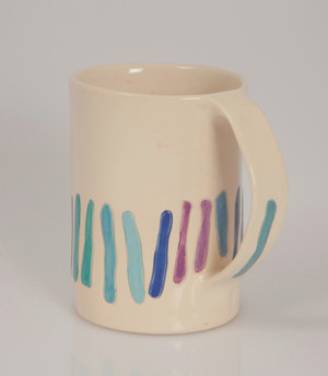 multicolor strips mug