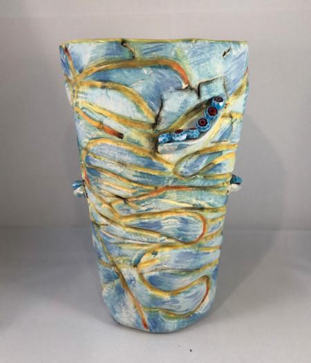 yellow bark beetle vase