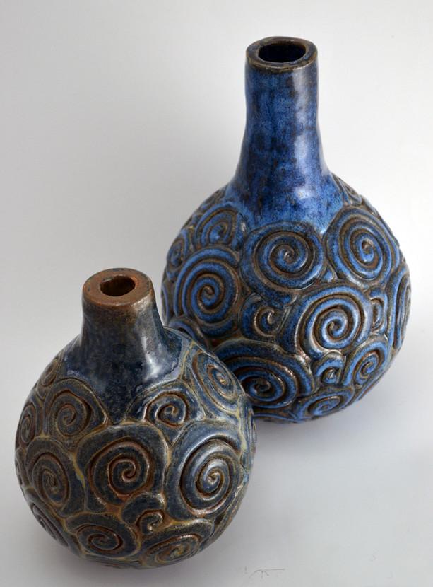 Blue spirals bottels