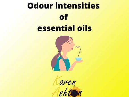 Odour intensities of essential oils